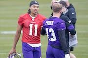 Vikings rookies quarterback Kellen Mond talked to receiver Blake Proehl during Friday's rookie minicamp in Eagan.