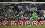 Minnesota United defender Romain Metanire (19) cleared the ball in the second half in front of goalkeeper Tyler Miller on Wednesday.