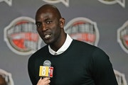 Kevin Garnett, a finalist for the Naismith Memorial Basketball Hall of Fame, speaks during a ceremony announcing the finalists at the United Center in