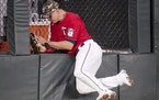 Twins center fielder Max Kepler caught a fly ball as he crashed into the wall in the third inning Friday night.