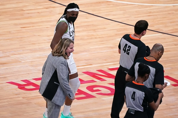 Lynx coach Cheryl Reeve voiced her displeasure at the officials for taking time off the clock near the end of the game.