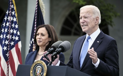 President Joe Biden spoke about the updated mask guidelines from the Rose Garden at the White House in Washington on Thursday as Vice President Kamala