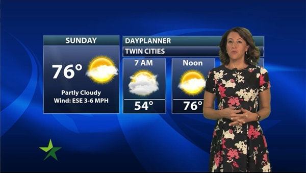 Evening forecast: Low of 54, with a high of 76 Sunday