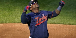 Twins first baseman Miguel Sano celebrated his three-run homerr off Athletics reliever Jake Diekman in the eighth inning Saturday at Target Field, a h