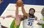 Wolves center Karl-Anthony Towns blocked Jazz guard Joe Ingles on April 24, when the Wolves won at Salt Lake City for the second time this season.