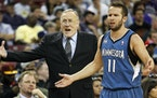 Then-Timberwolves coach Rich Adelman protested a call — as did J.J. Barea — in a game at Sacramento in April 2014. It was in Sacramento that Adelm