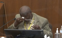 In this image from video, witness Charles McMillian became emotional as he answered questions on March 31, 2021, in the trial of former Minneapolis po