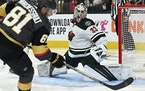Wild goalie Cam Talbot got in position to stop a shot by Golden Knights center Jonathan Marchessault during the second period Sunday in Las Vegas.