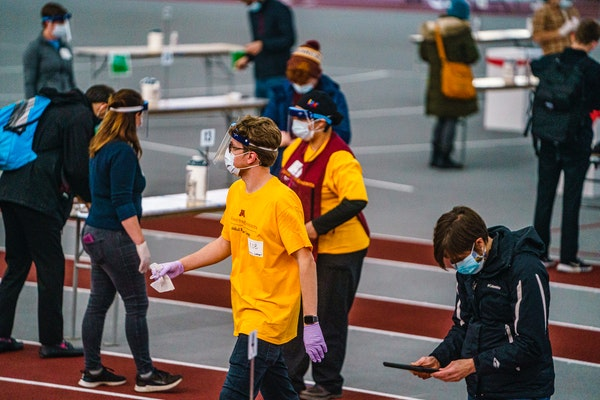 At the University of Minnesota Field House, students, staff, and faculty took saliva COVID-19 tests on Nov. 17, 2020, before the university locked dow