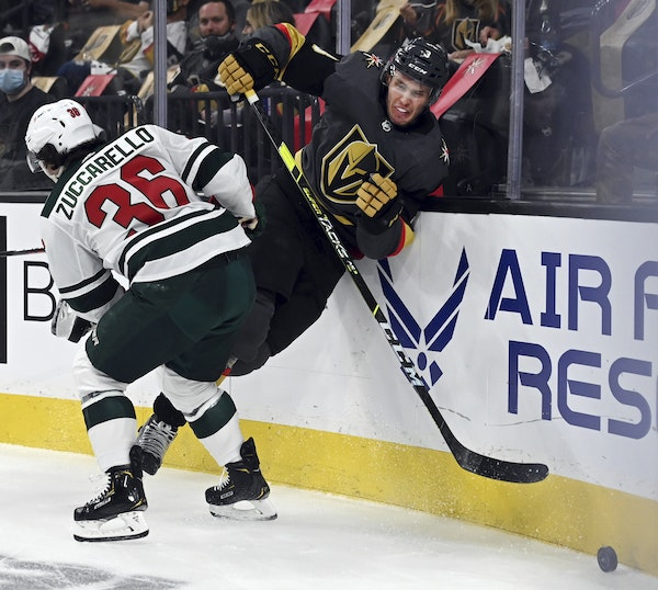 Mats Zuccarello of the Wild collided with Golden Knights defenseman Brayden McNabb during the first period of Sunday's game in Vegas.