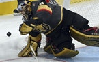 Vegas goalie Marc-Andre Fleury during the first period Sunday.