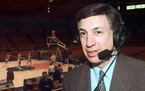 FILE - Marv Albert poses at Madison Square Garden in New York, in this Sunday, Feb. 7, 1999, file photo, where he broadcast the Knicks season home ope