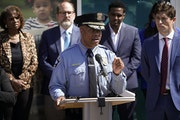 Minneapolis police Chief Medaria Arradondo and Mayor Jacob Frey, right, joined other city leaders in announcing a new model for community safety and a