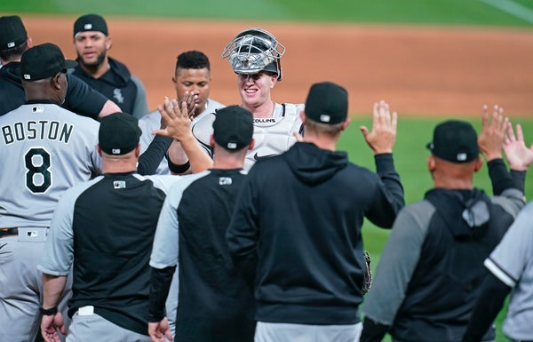 The Chicago White Sox celebrated their 16-4 win over the Minnesota Twins. ] leila.navidi@startribune.com