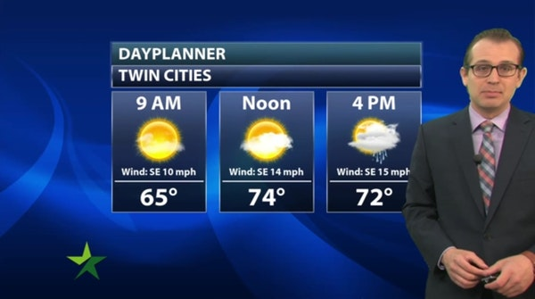 Morning forecast: Sunny start, high 75; PM showers likely