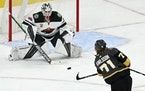 The Golden Knights had 19 first-period shots on Wild goalie Cam Talbot in Game 1.