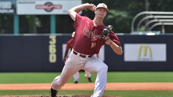 Bailey Ober pitching for the College of Charleston in 2017.