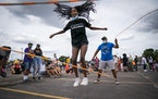 In 2020, Almaz Braasch, 13 of Edina tried out the Juneteenth double dutch challenge with Pros of the Rope at the Juneteenth Celebration - Unite & Rebu