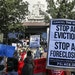 An eviction protest in California last year. (Los Angeles Times photo)