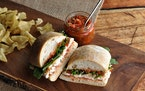 Sweet and Hot Pepper Antipasto Sandwich Spread adds zest to sandwiches.