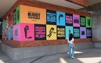 """""""Just Yesterday"""" exterior mural exhibition on the exterior of the Weisman Art Museum. On view now through Oct. 1. Image courtesy of WAM."""