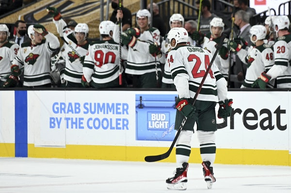 Wild defenseman Matt Dumba (24) reacted after scoring against the Vegas Golden Knights during the second period of Game 2 of a first-round NHL hockey