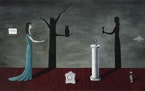 """The exhibit """"Supernatural America"""" will include (clockwise from top) Gertrude Abercrombie's 1950 painting """"Strange Shadows (Shadows and Substa"""