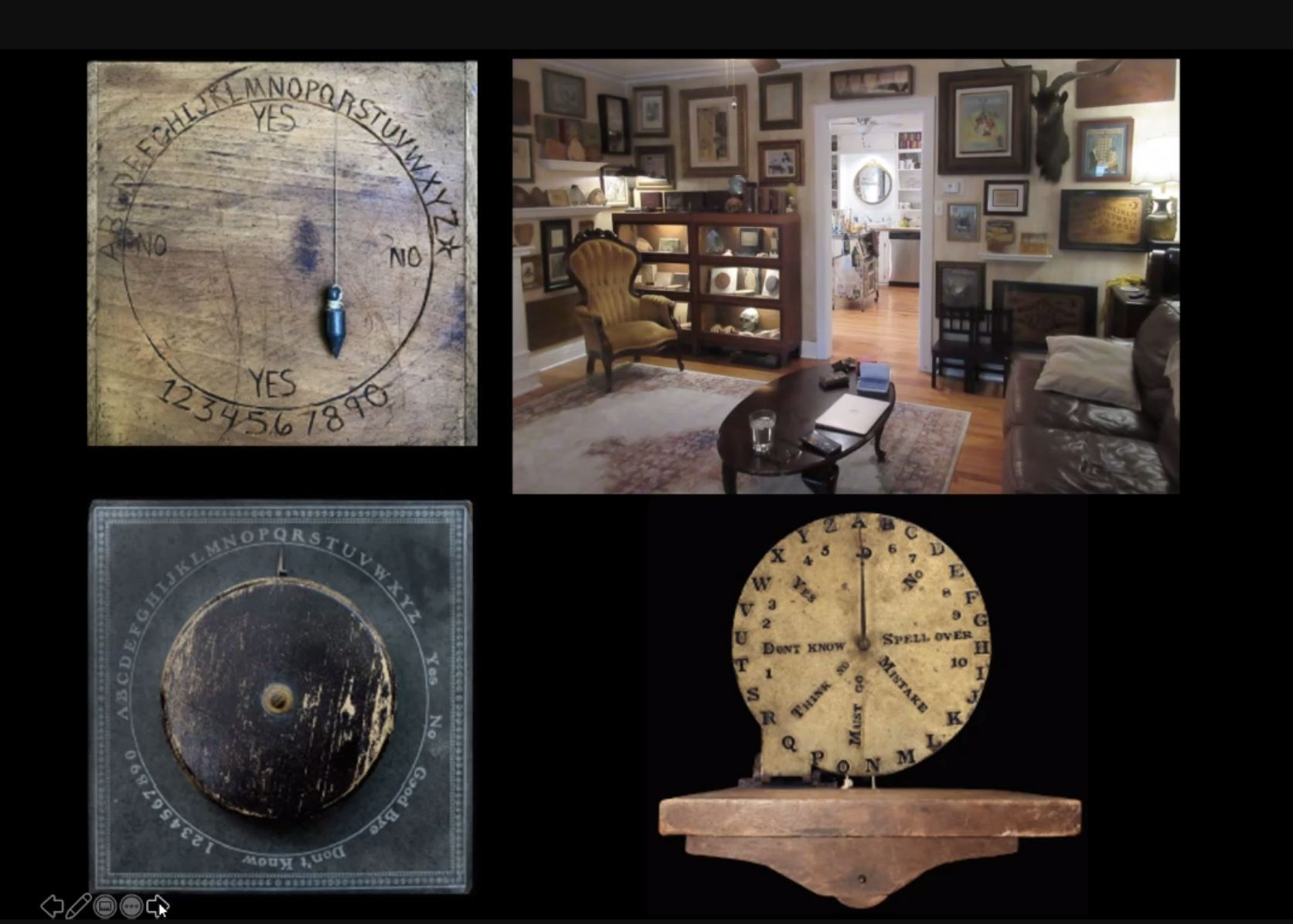 Various Ouija boards on view in 'Supernatural America.' Screenshot from the exhibition press preview.