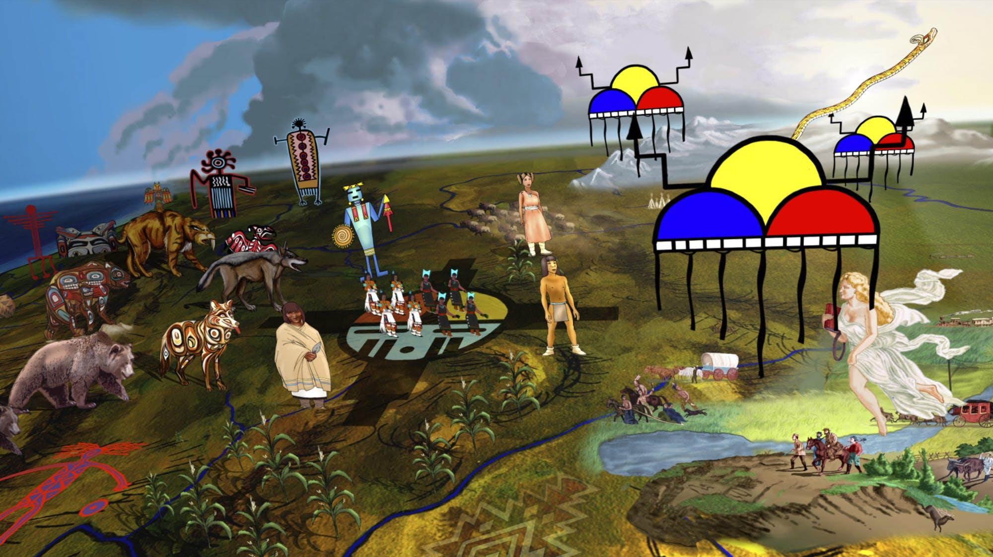 John Jota Leaños. American (Xicano-Mestizo), born 1969. Destinies Manifest, 2017. Digital animation, installation, 7 minutes. Provided by the John Jota Leaños. Photos: Blue Rain Gallery, Santa Fe, NM.