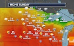 Not As Hot Sunday With Some Afternoon Strong Storms Possible
