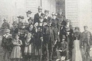 The congregation of Brown's Chapel gathered in front of their church for a photo around 1900. Wrote the Rev. J.C. Anderson, pictured in the top hat: