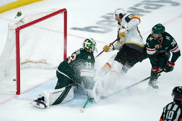 Golden Knights right wing Mark Stone scored a shorthanded goal on Wild goaltender Cam Talbot in the second period.