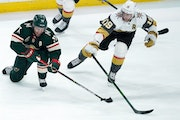 Zach Parise, in the Wild lineup for the first time in the series, took shifts on the fourth line – plus a high stick to the mouth.