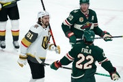 Golden Knights right winger Mark Stone and Wild left wing Kevin Fiala traded words in the third period Saturday. Stone is 6-3, 205 pounds; Fiala is 5-
