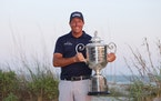 Phil Mickelson with the Wanamaker Trophy after winning the 2021 PGA Championship