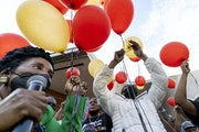Texas Congresswoman Sheila Jackson Lee and George Floyd's sisters LaTonya Floyd and Zsa Zsa Floyd led a balloon release as a tribute to George Floyd