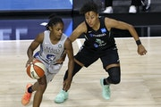 Lynx guard Crystal Dangerfield, left, moved past New York's Layshia Clarendon in a game last summer. Clarendon is set to join the Lynx this week.