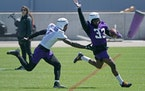 """Dalvin Cook, right, at Wednesday's workout. """"I like to bring that kid out of everybody,"""" he said."""