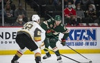 Wild left wing Kirill Kaprizov made a move around Vegas defenseman Nick Holden in the second period Wednesday.