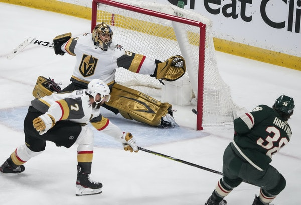 Ryan Hartman snapped a scoreless tie with a third period goal on Vegas' Marc-Andre Fleury.