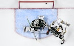 A Vegas shot made it past Wild goaltender Cam Talbot, but the goal was waved off due to goaltender interference
