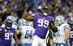 Minnesota Vikings defensive end Danielle Hunter (99) celebrates after sacking Detroit Lions quarterback Matthew Stafford during the first half of an N