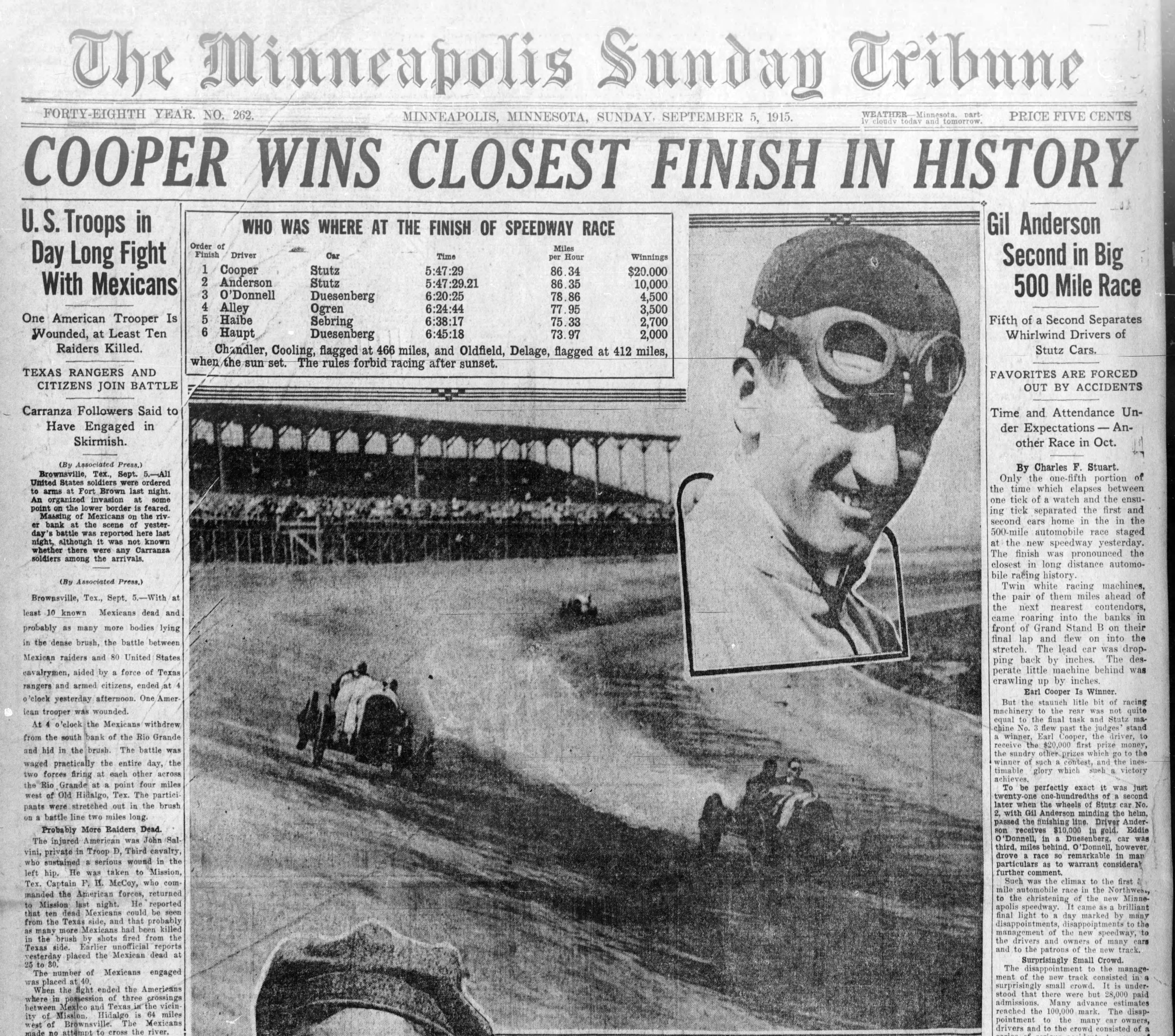 The Minneapolis Tribune front page on September 5, 1915, the day after the big opening race at Twin City Motor Speedway.