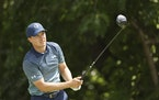 Jordan Spieth plays his shot from the sixth tee during the first round of the Charles Schwab Challenge