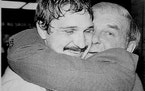 North Stars goalie Gilles Meloche, left, got a big hug from team scout and former goalie Gump Worsley after Minnesota beat Montreal 3-2 in Game 7 of t
