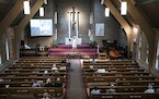 About 40 church members attended a service on May 16 at First Lutheran Church of Crystal.