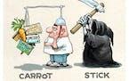 Sack cartoon: Carrot ... stick.