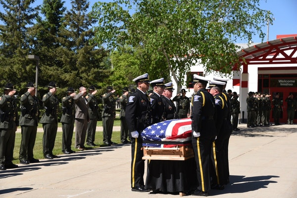 Minnesota conservation officer Sarah Grell was remembered during a funeral service Friday at the Grand Rapids IRA Civic Center. Grell died while on du