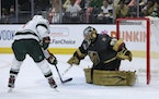 Zach Parise of the Wild was stopped by Vegas goalie Marc-Andre Fleury on Friday night.