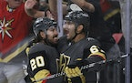 Golden Knights center Chandler Stephenson congratulated Max Pacioretty, who scored in his first game of the series after returning from an injury.